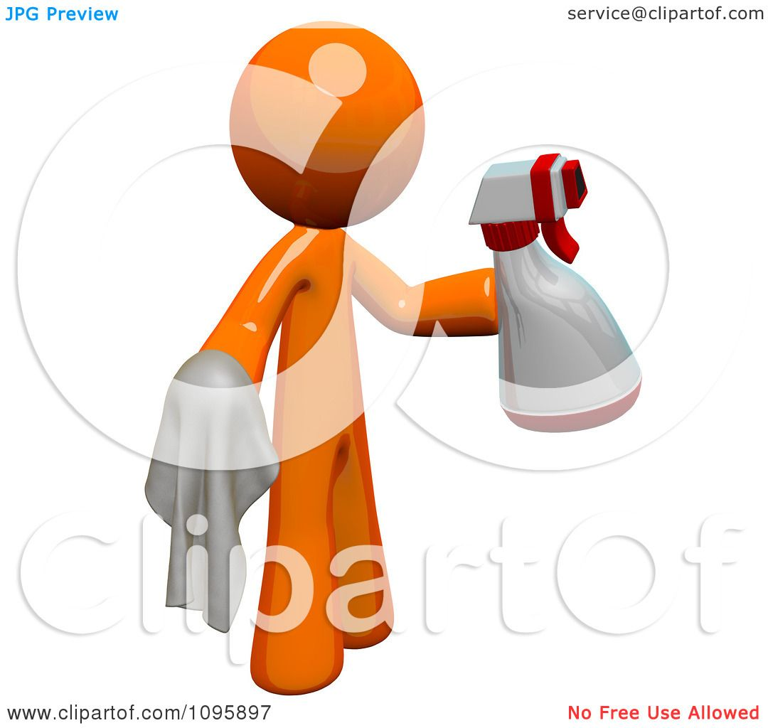 Clipart 3d Orange Man Custodian Cleaning With A Spray Bottle And.