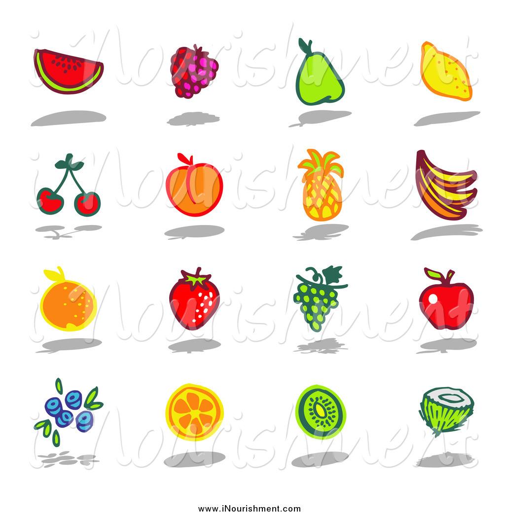Clipart of a Watermelon, Raspberry, Pear, Lemon, Cherry, Apricot.