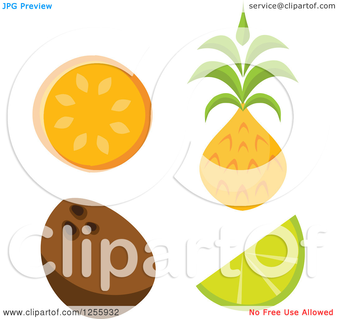 Clipart of a Tiki Style Tropical Orange Coconut Lime and Pineapple.