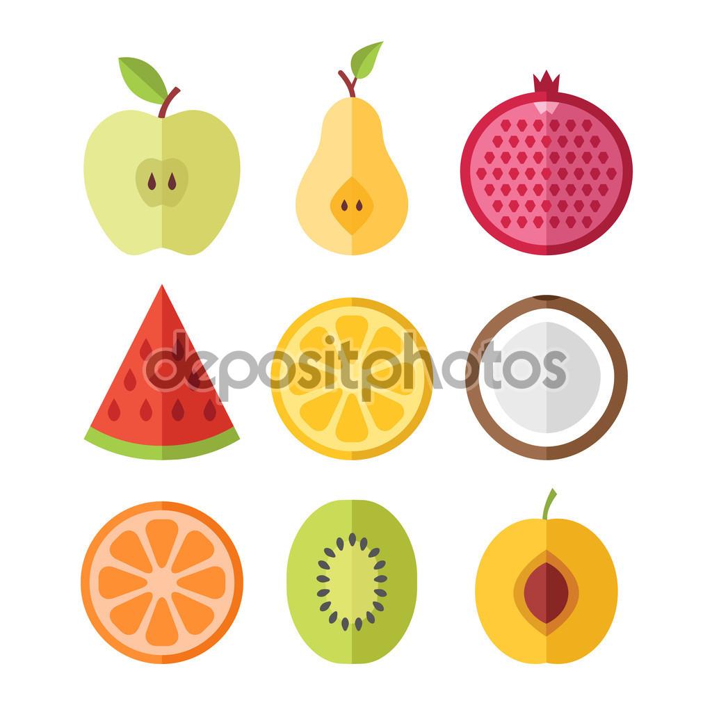 Vector fruits slices set. Apricot, kiwi, orange, coconut, lemon.