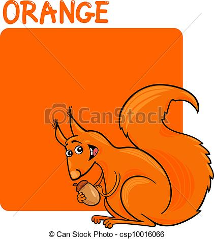 Clip Art Vector of Color Orange and Squirrel Cartoon.