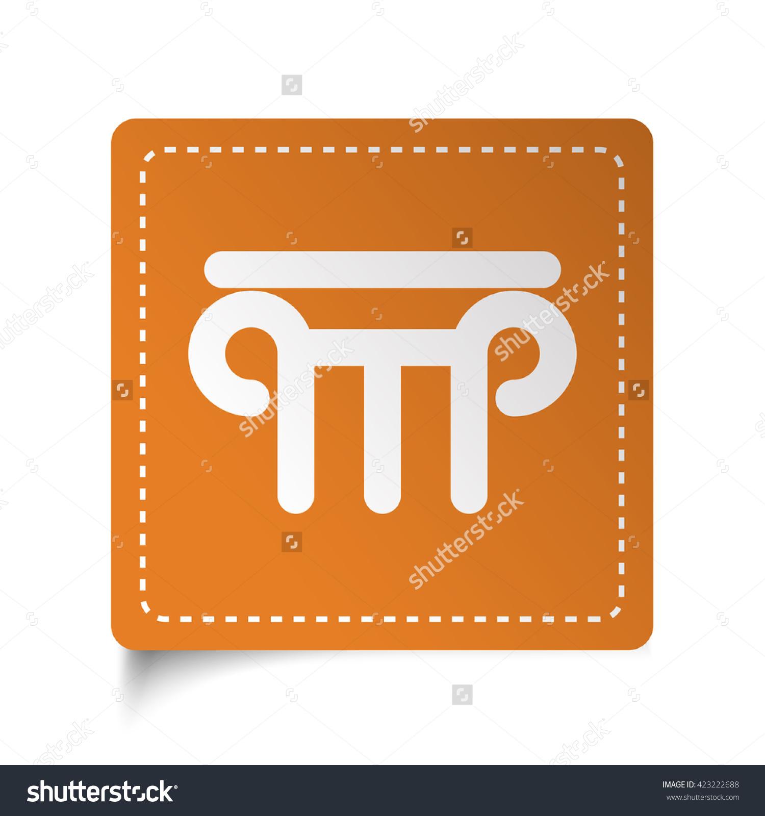 White Flat Column Icon On Orange Sticker Stock Photo 423222688.