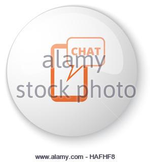 Glossy White Web Button With Orange Column Icon On White.