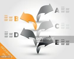 Orange Column of Five Infographic 3d Arrows stock vectors.