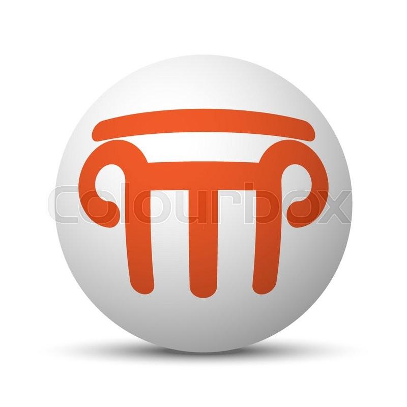 Orange Column icon on white ball.