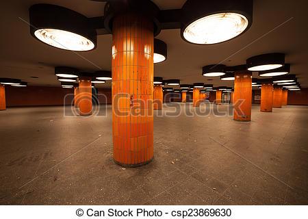 Stock Photos of underpass in berlin with orange column csp23869630.
