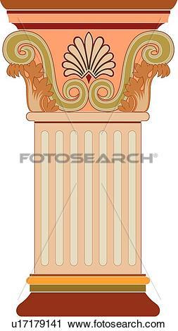 Clipart of Orange and Brown Decorative Column u17179141.