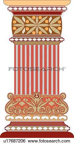 Clip Art of Orange, brown and red column Design Ornament u17687206.