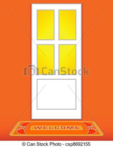 Clipart Vector of Closed door. Orange..