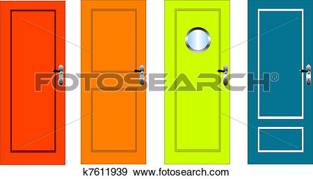 Clip Art of Colourful doors k7611939.