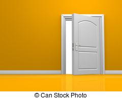 Stock Illustrations of Open Single Orange Door.