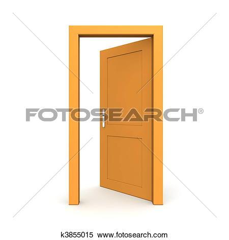 Stock Illustration of Open Single Orange Door k3855015.