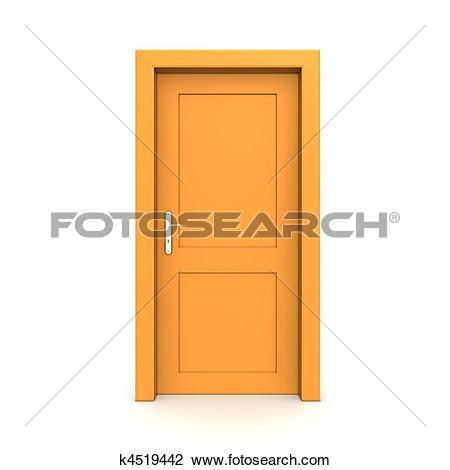 Clip Art of Closed Single Orange Door k4519442.