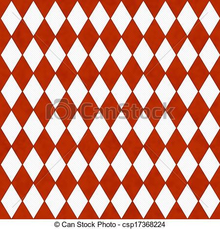 Clip Art of Bright Orange and White Diamond Shape Fabric.