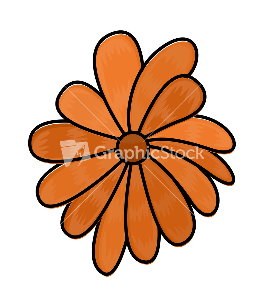 Orange Flower Clipart Vector Stock Image.