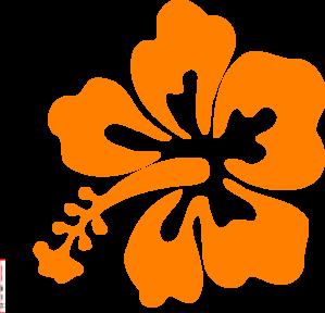 Orange Hibiscus Clip Art.