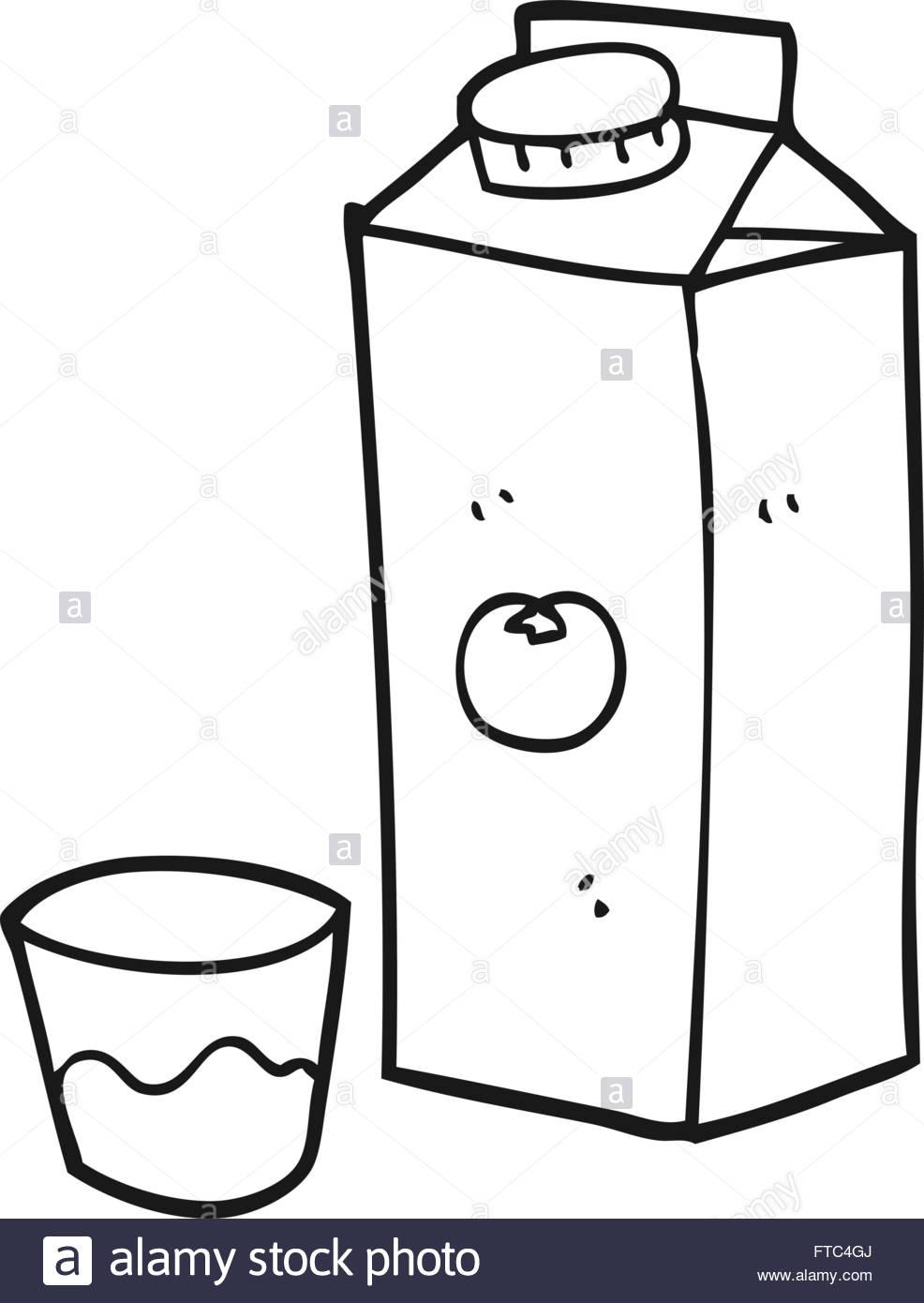freehand drawn black and white cartoon orange juice Stock Vector.