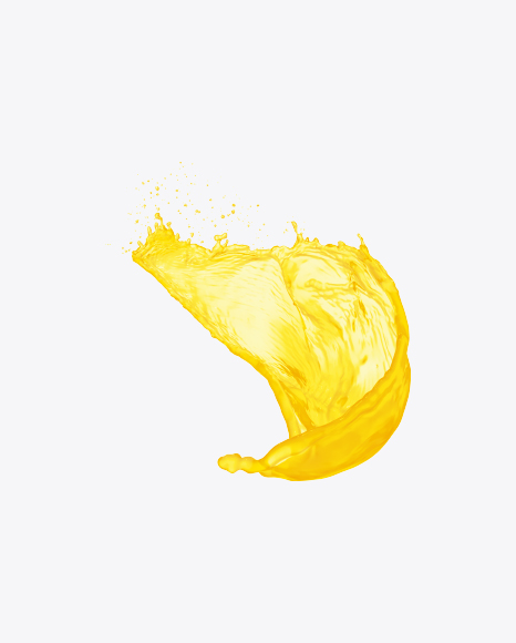 Download Orange Juice Splash Transparent PNG on Yellow.