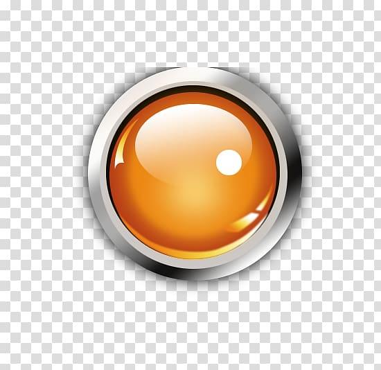Orange LED light illustration, Button Icon, Round Button.