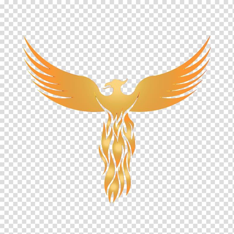 Orange phoenix animated illustration, Logo Phoenix Graphic.
