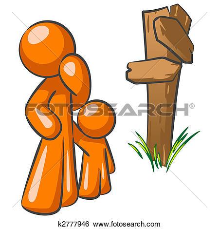 Stock Illustration of Orange Man and Toddler at Crossroads.