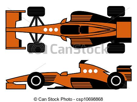 Clip Art Vector of Orange racing car.