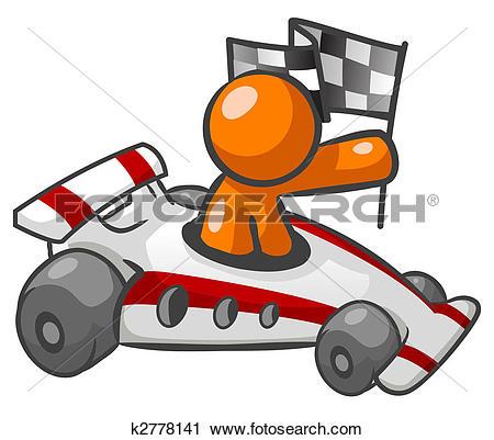 Clipart of Orange Man Race Car k2778141.