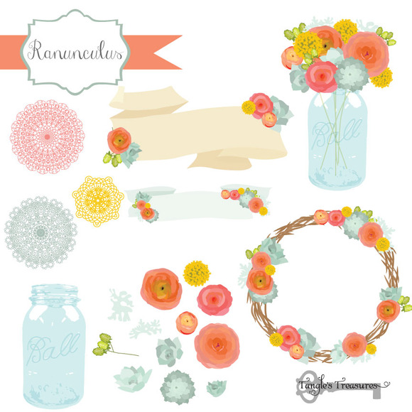 Ranunculus Flower Clipart & Vectors.