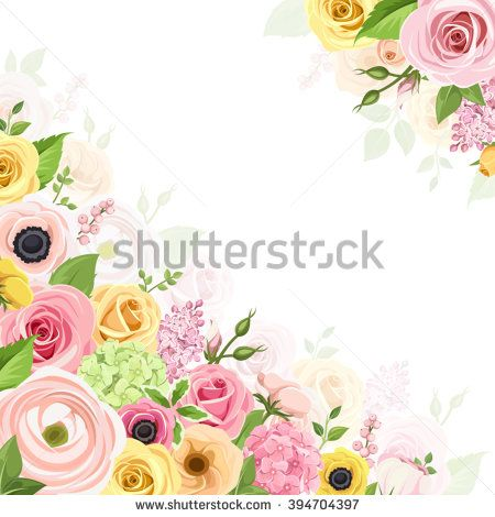 Vector background with pink, orange and yellow roses, lisianthuses.