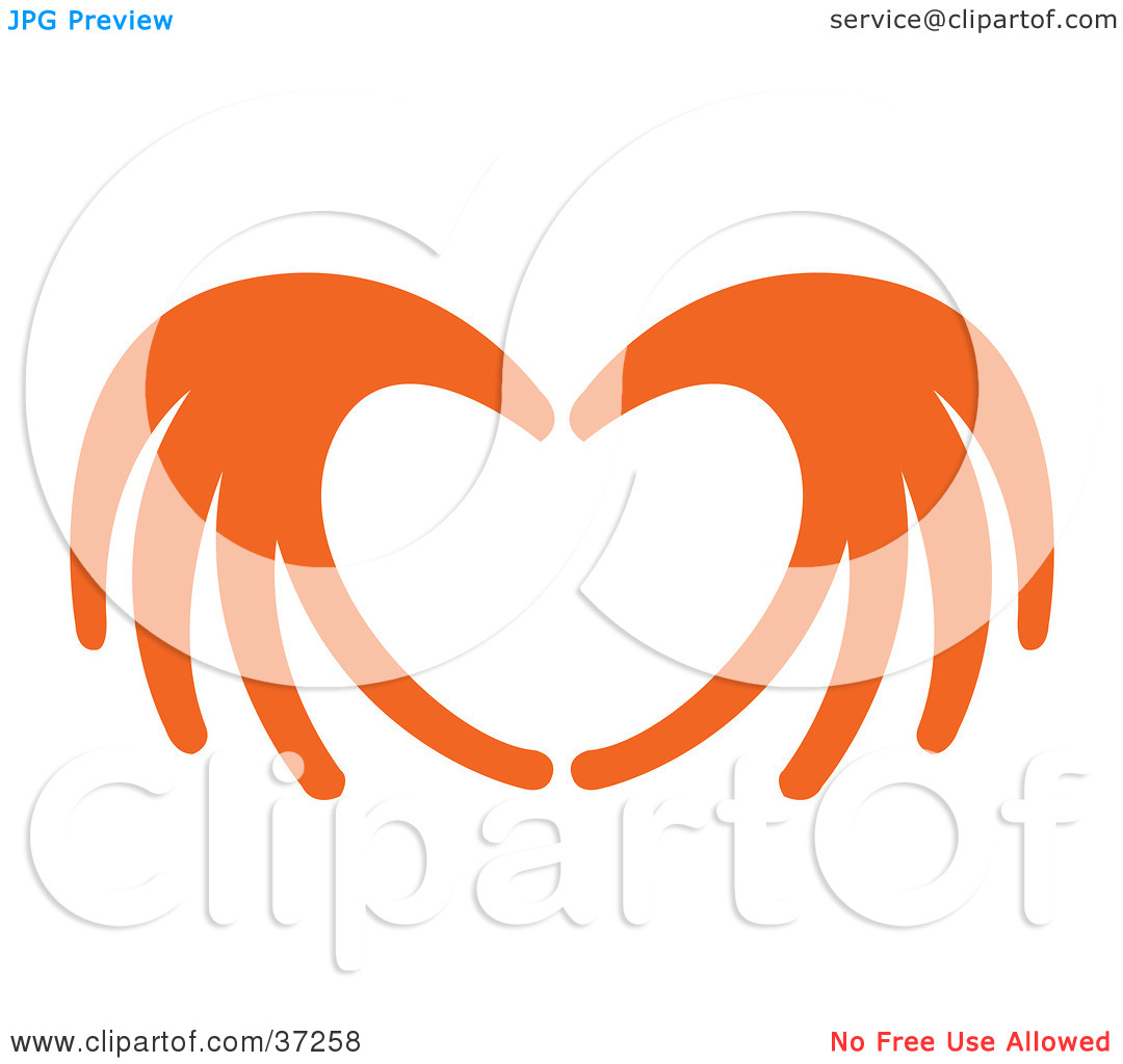 Clipart Illustration of Orange Red Hands Coming Together To Form A.