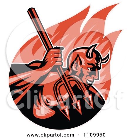 Clipart of a Retro Aggressive Demon or Devil.