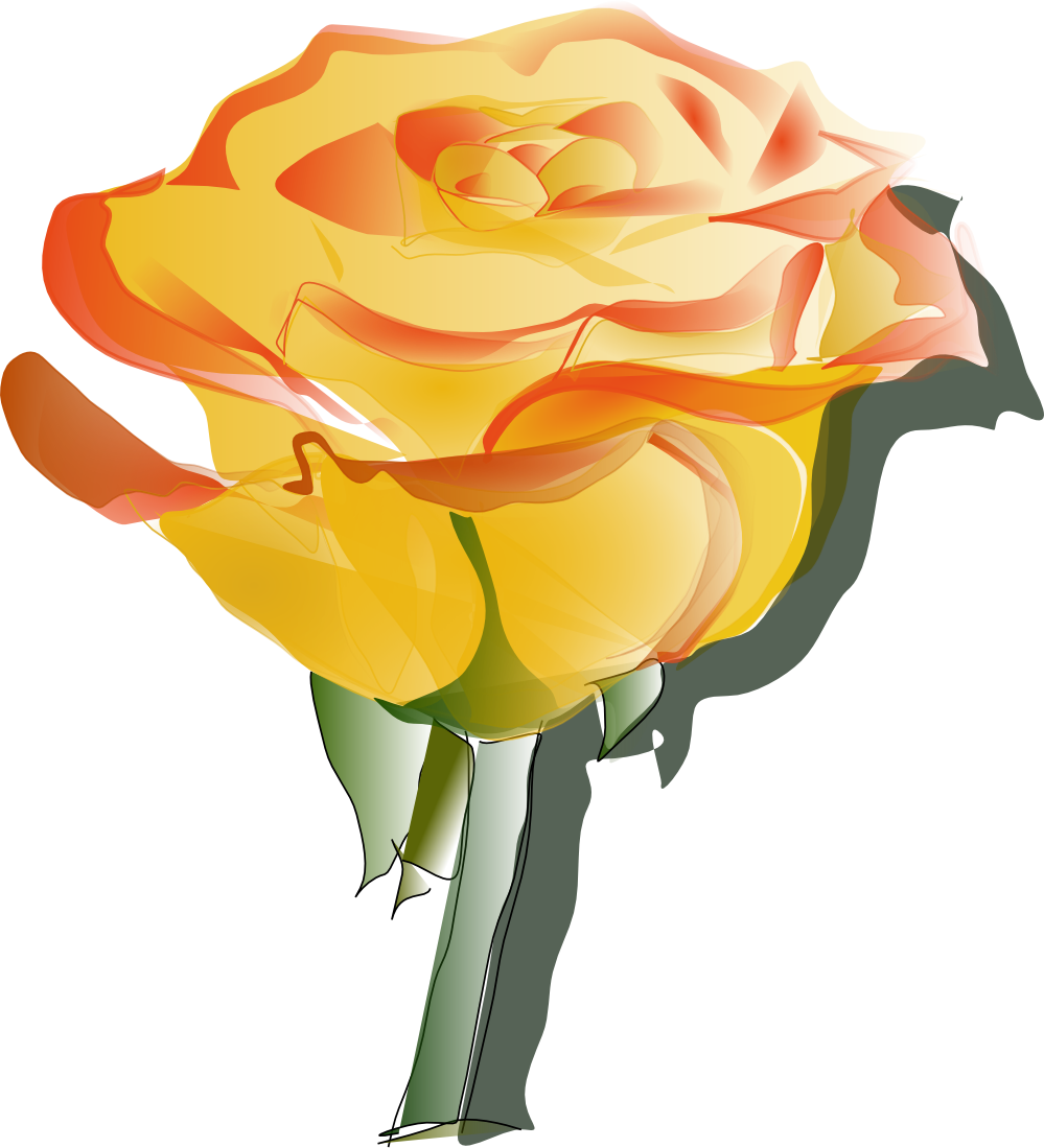 Orange Rose Clip Art Flowers.