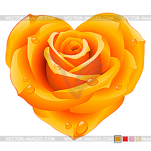 Orange Rose Heart Clipart.