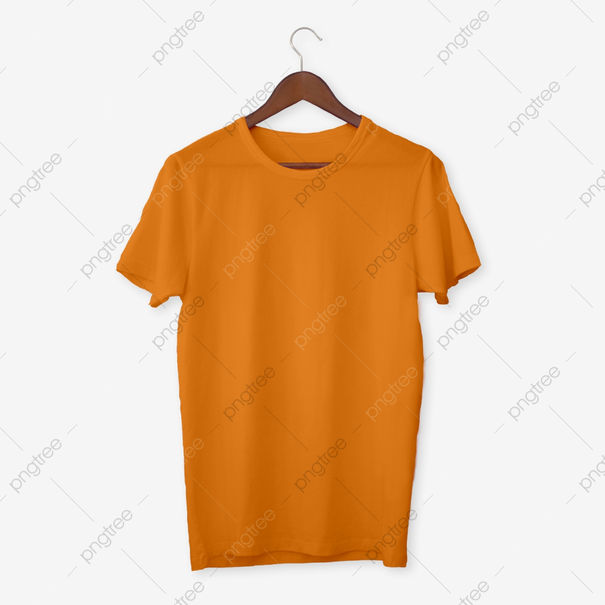 Orange T Shirt Mockup, T Shirts, Mens, White PNG Transparent.