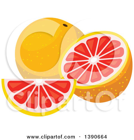 Clipart of a Half and Whole Orange.