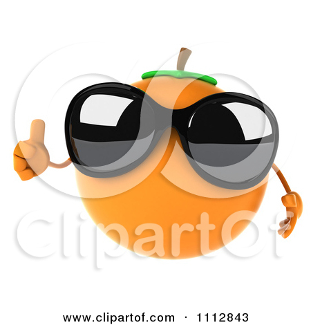 Clipart 3d Orange Wearing Sunglasses And Jumping.