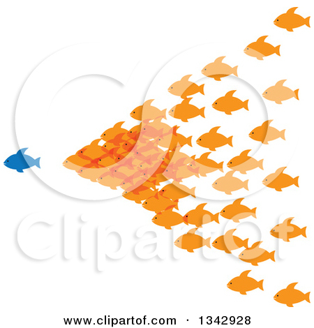 Clipart of a Blue and Orange Pair of Faith or Pisces Fish in the.