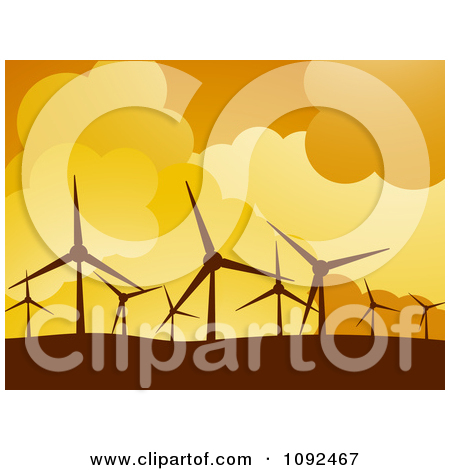 Clipart Turbines Silhouetted Against An Orange Sky At A Wind Farm.