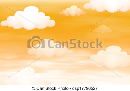 Vector Illustration of Orange sky with clouds.