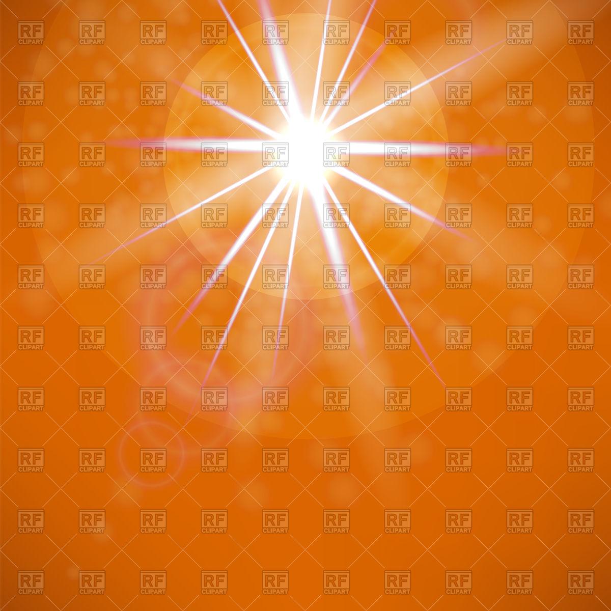 Summer sun on orange sky background Vector Image #95084.