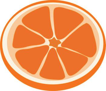 Clip Art Illustration of a Slice of Orange.