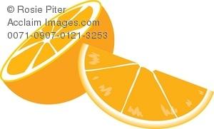 Clip Art Illustration Of An Orange Half And Slice.