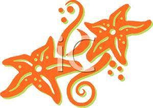Orange Starfish Clipart.