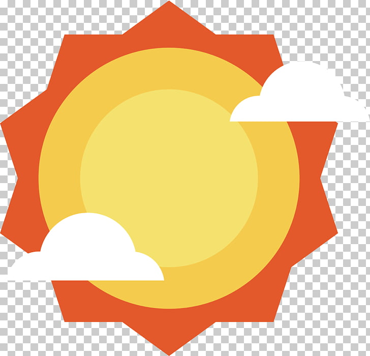 Orange sun PNG clipart.