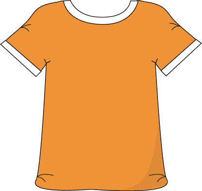 Orange Tshirt with a White Collar.