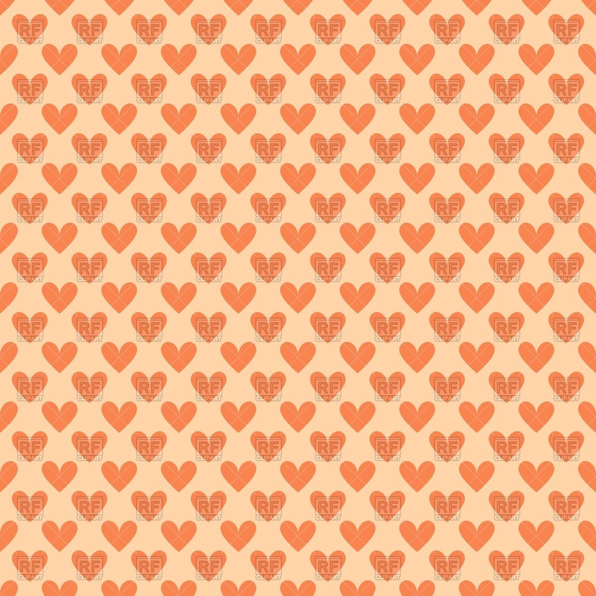 Orange seamless pattern with little hearts.