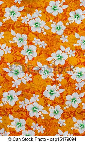 Stock Photographs of White hibiscus flowers on fabric pattern.