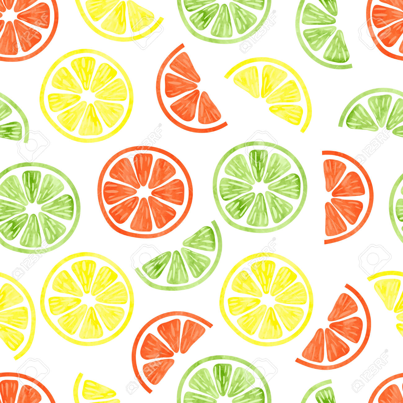 Watercolor Citrus Seamless Pattern. Vector Background With Lemon.