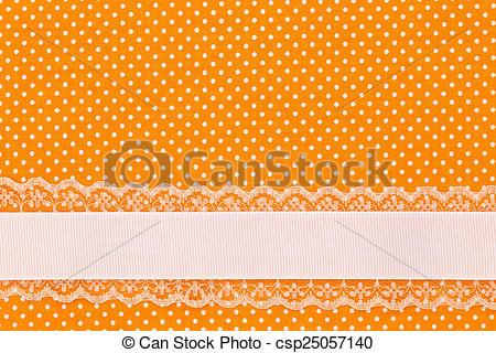 Stock Photo of Orange retro polka dot textile background with.