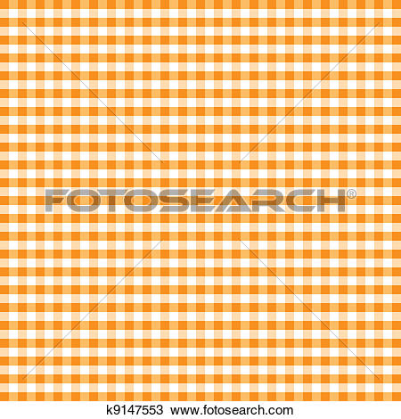 Clipart of Seamless Pattern, Orange Gingham k9147553.